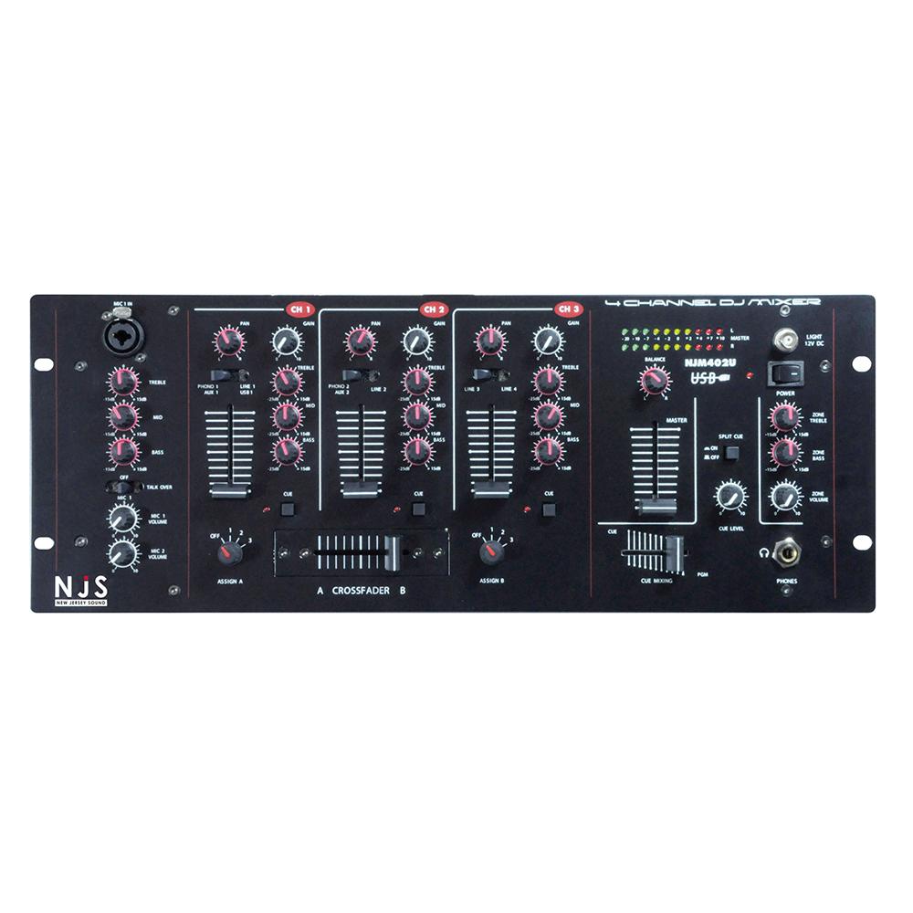 njs njm402u 4 channel dj mixer with usb input analogue mixers studio gear studiospares. Black Bedroom Furniture Sets. Home Design Ideas