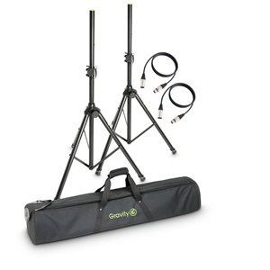 Gravity GSS5211BSET3 Speaker Stands pair with Bag and XLR Leads
