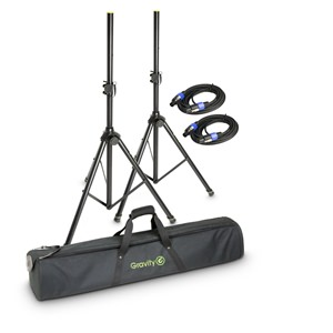 Gravity GSS5211BSET2 Speaker Stands pair with Bag and Standard Leads