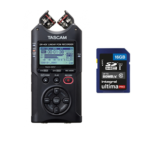 Tascam DR-40X Portable 4-Track Audio Recorder With 16GB card