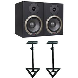 Studiospares Seiwin 6A Studio Monitors + Monitor Stands