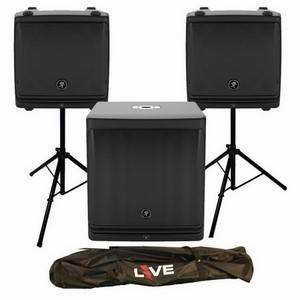 Mackie DLM8 Pair + DLM12S + Stands, Leads & Stand Bag