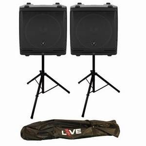 Mackie DLM12 Pair + Stands, Leads & Stand Bag