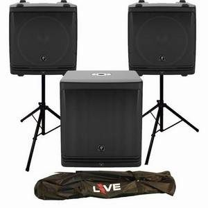 Mackie DLM12 x2 + DLM12S + Stands, Leads and Stand Bag