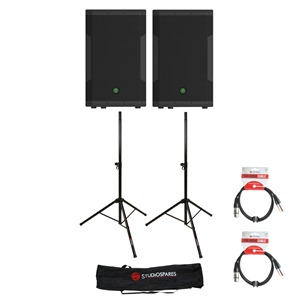 Mackie SRM550 Speakers + Stands/Leads/Bag