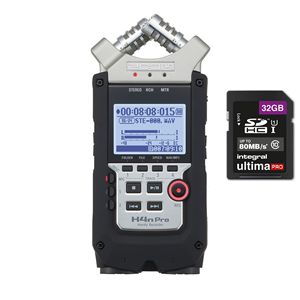 Zoom H4N Pro Black Portable Recorder + 32GB SDHC