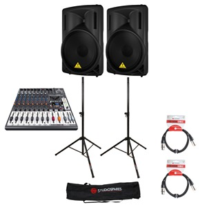 Behringer B215D x 2 + X1222USB + Stands + Bags + Leads