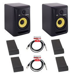 KRK Rokit RP6 Pair + Monitor Pads + Leads Bundle