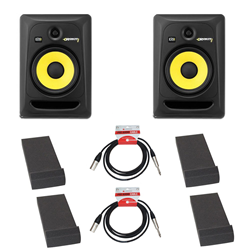 KRK Rokit RP8 Pair + Monitor Pads + Leads Bundle