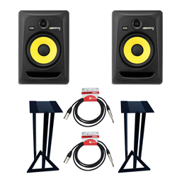 KRK Rokit RP8 Pair + Stands + Leads Bundle