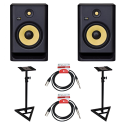 KRK Rokit RP8 Gen 4 Bundle Monitor Stds & Leads