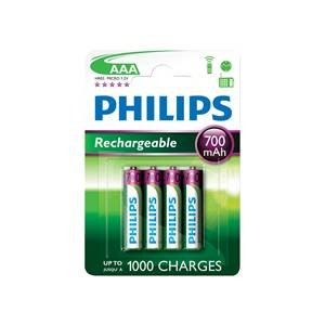 Philips Rechargeable Batteries AAA 700mAh (4 Pack)