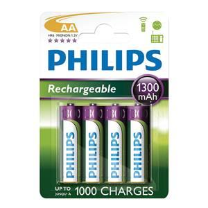 Philips Rechargeable Batteries AA 1300mAh (4 Pack)