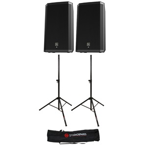 "Electro-Voice ZLX-12P 12"" Powered Pair + Stands + Bag"