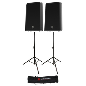 "Electro-Voice ZLX-15P 15"" Powered Pair + Stands + Bag"