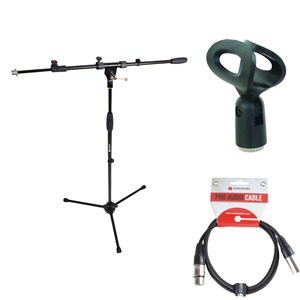Mic Stand, Clip and 6m XLR Lead Bundle