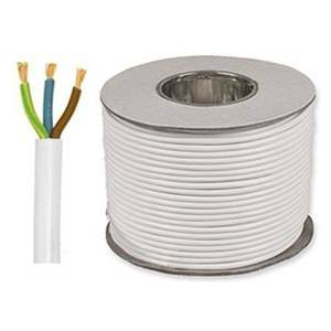 MAINS CABLE 3-CORE 0.75mm 6A WHITE per metre