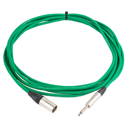 Pro Neutrik XLR Male - Mono Jack Lead 5m Green