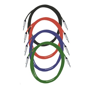 Pro Neutrik Unbalanced / Mono Jack Leads 5m Coloured 4-Pack