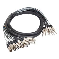 Pro Neutrik Insert Loom XLR - Jack 8way 2.5m Tip Send