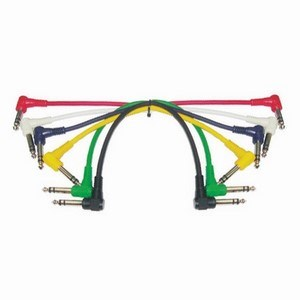 Angled Stereo Jack Coloured Patch Cords (6-Pack)