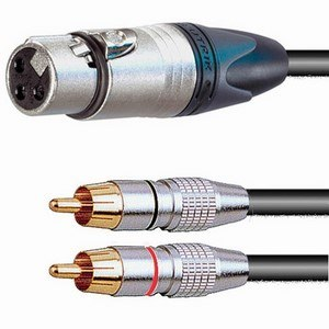 Pro Neutrik XLR Female – 2x Phono Plugs Breakout Lead 2m