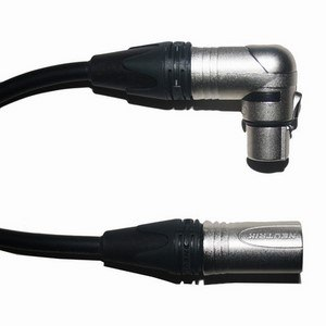 Pro Neutrik XLR Male - Angled XLR Female Lead 10m