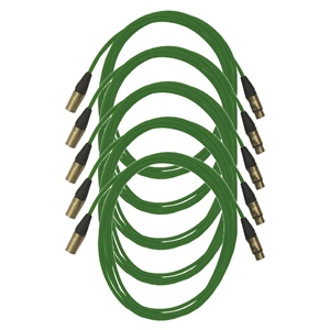 Pro Neutrik XLR Cables 5m Green (5 Pack)