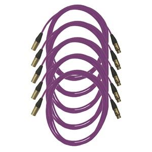 Pro Neutrik XLR Cables 5m Violet (5 Pack)