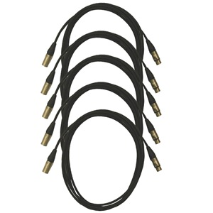Pro Neutrik XLR Cables 10m Black 5-Pack