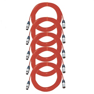 Pro Neutrik XLR Cables 10m Red 5-Pack