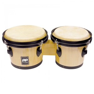 "Bongo Drums 8"" + 7"" Natural Wood"