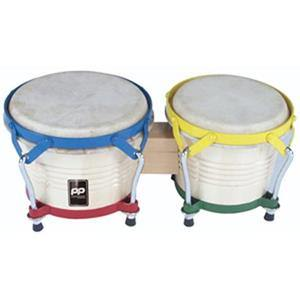 "Bongo Drums 8"" + 7"" White Wood"