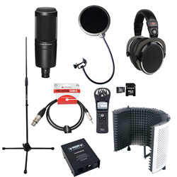 Voiceover and Podcasting Kit with Audio Technica AT2020 - Reflection Filter White