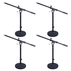 Studiospares 4-Pack Pro Short Round Base Mic Stands