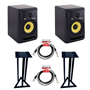 KRK Rokit RP6 Pair + Stands + Leads Bundle